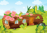 A caterpillar and a wood house