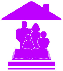 isolated violet icon with family, book and house silhouette