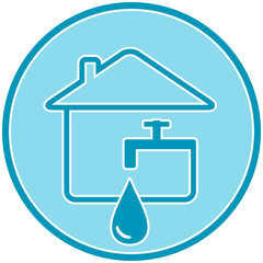 blue icon with drop, faucet and house silhouette