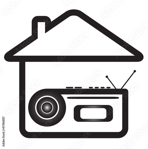 blue isolated icon with voice recorder in home silhouette