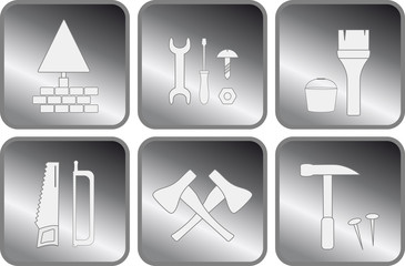 set isolated icon with tools for repair
