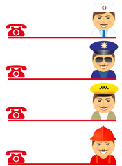set mans - fireman, policeman, doctor and taxi driver