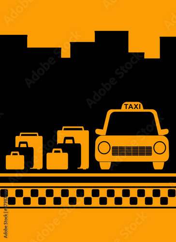 cab urban yellow background with bag, city and taxi symbol