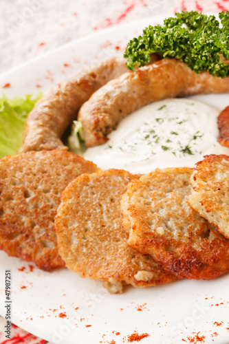 potato pancakes with sausage