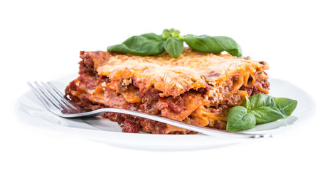 Piece of Lasagne isolated on white