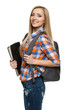 Smiling university student woman standing with backpack