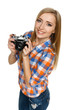 High angle view of smiling casual female with camera