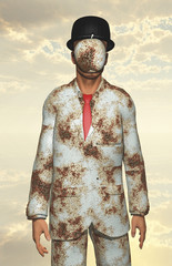 Man in white corroded suit with obscured face