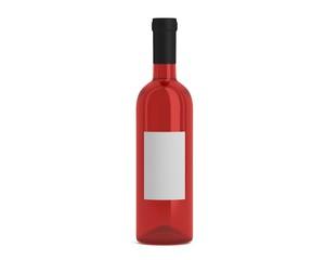 Weinflasche Rose mit Etikett klein