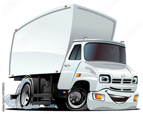 Foto op Canvas Cartoon cars Vector Cartoon Cargo Truck