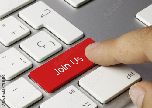 Join Us keyboard key. Finger