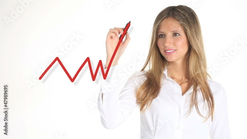 girl shows a graph of 'sales growth