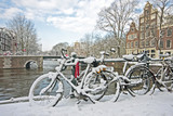 Fototapety Snowy Amsterdam in the Netherlands