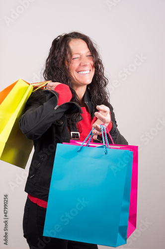 Laughing Woman with shopping Bags