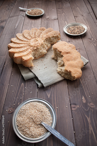 Rustic bread with sesame seeds