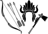 american indian headdress, tomahawk and bow. stencil poster