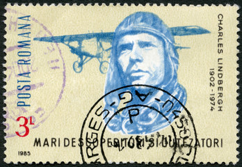 ROMANIA - 1985: shows Charles Lindbergh, Spirit of St. Louis