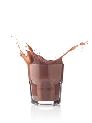 Splash in a glass of chocolate milkshake