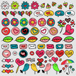 Set of cute doodle elements hearts and flowers