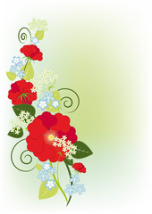 background with roses and violets