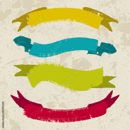 Set of grunge ribbons Vector illustration. Retro banners