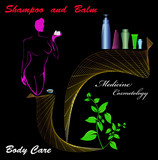 The shampoo and balm.Medicine cosmetology for female.Vector poster