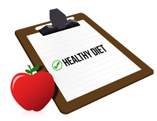 "clipboard with marked checkbox ""Diet"" and apple"