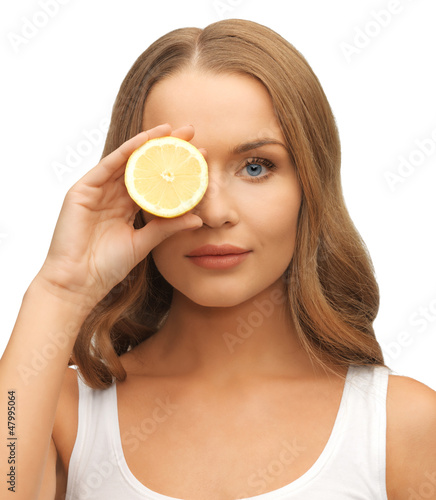 woman with lemon slice
