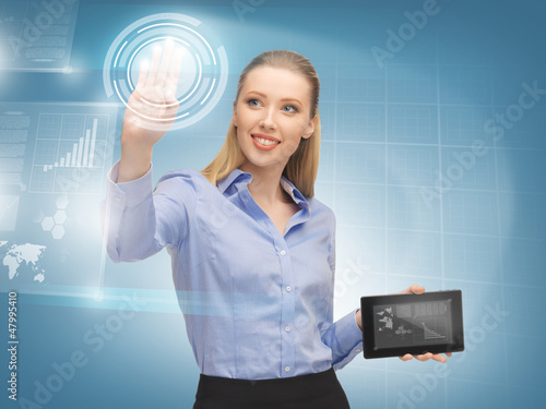 woman working with virtual tablet pc