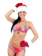 Young sexy woman wearing bikini and christmas hat and gloves