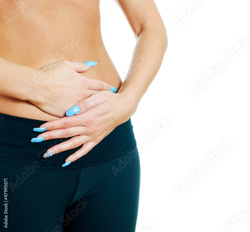Woman suffering from stomach ache. Isolated on white.