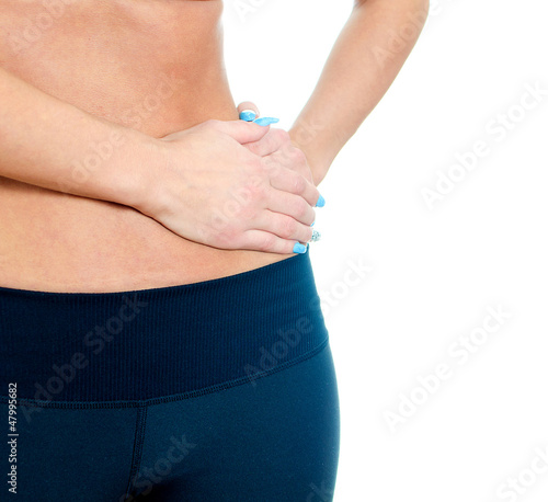Woman suffering from pain in left side. Isolated on white