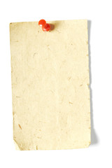 Vintage sticker with red thumbtack