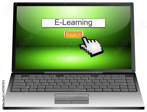 Laptop with internet search E-Learning