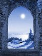 Leinwanddruck Bild - Burgfenster mit Mondlicht