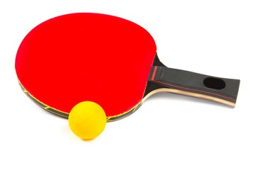 Ping pong red racket with ball