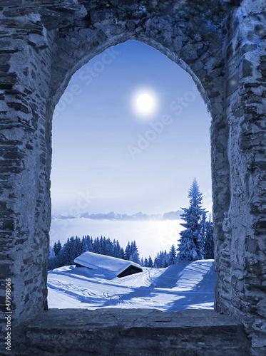 Leinwanddruck Bild Burgfenster mit Mondlicht