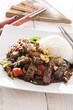 mongolischer Rind mit Reis