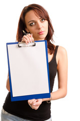 Woman holding a clipboard with blank paper