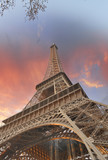 Wonderful sky colors above Eiffel Tower. La Tour Eiffel in Paris