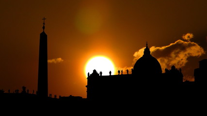 Italy Vatican City Piazza San Pietro sunset