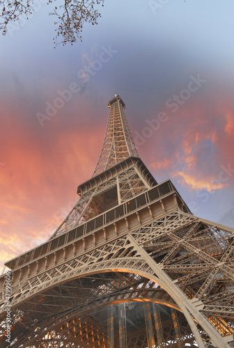 Wonderful sky colors above Eiffel Tower La Tour Eiffel in Paris