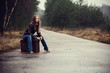 girl travelling with the suitcase
