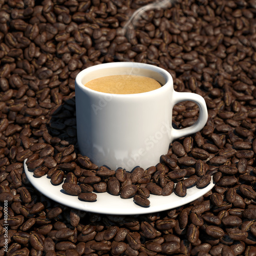 coffee beans surrounding an espresso 3d illustration