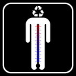 eco man symbol with thermometer, vector
