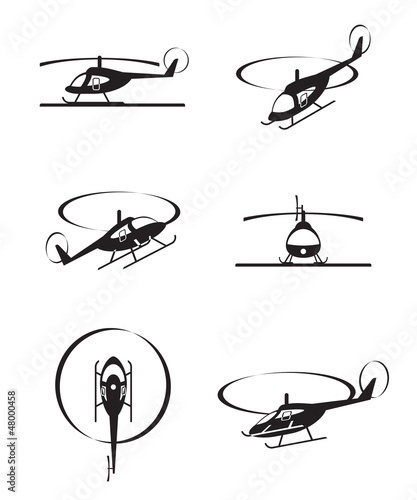 Civil helicopters in perspective - vector illustration - 48000458