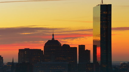 Timelapse of dramatic sunrise over Boston downtown time lapse