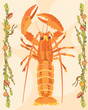 Lobster in a decorative illustration