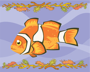 Nemo, clown fish in a decorative illustration