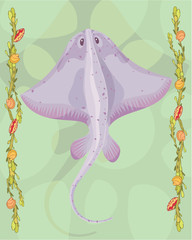 Stingray in a decorative illustration